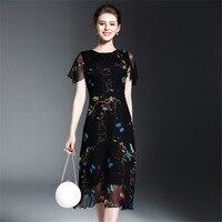 COCKCON Elegant Vintage Butterfly Printed Pleated Summer Dress Women European Short Sleeve Midi Voilce 100 Silk