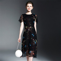 COCKCON Elegant Vintage Butterfly Printed Pleated Summer Dress Women European Short Sleeve Midi Voilce 100 Silk