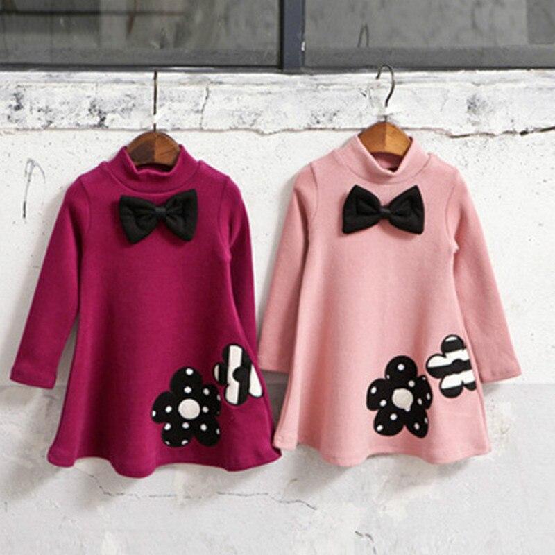 Outono/inverno engrossar menina vestido de algodão cashmere vestido de bebê meninas roupas bordadas vestido casual crianças vestido quente