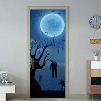 Hanging Man From A Tree Blue Moon Door Sticker 3D Bedroom Living Room Door Poster Mural PVC Self adhesive Home Decor Decal
