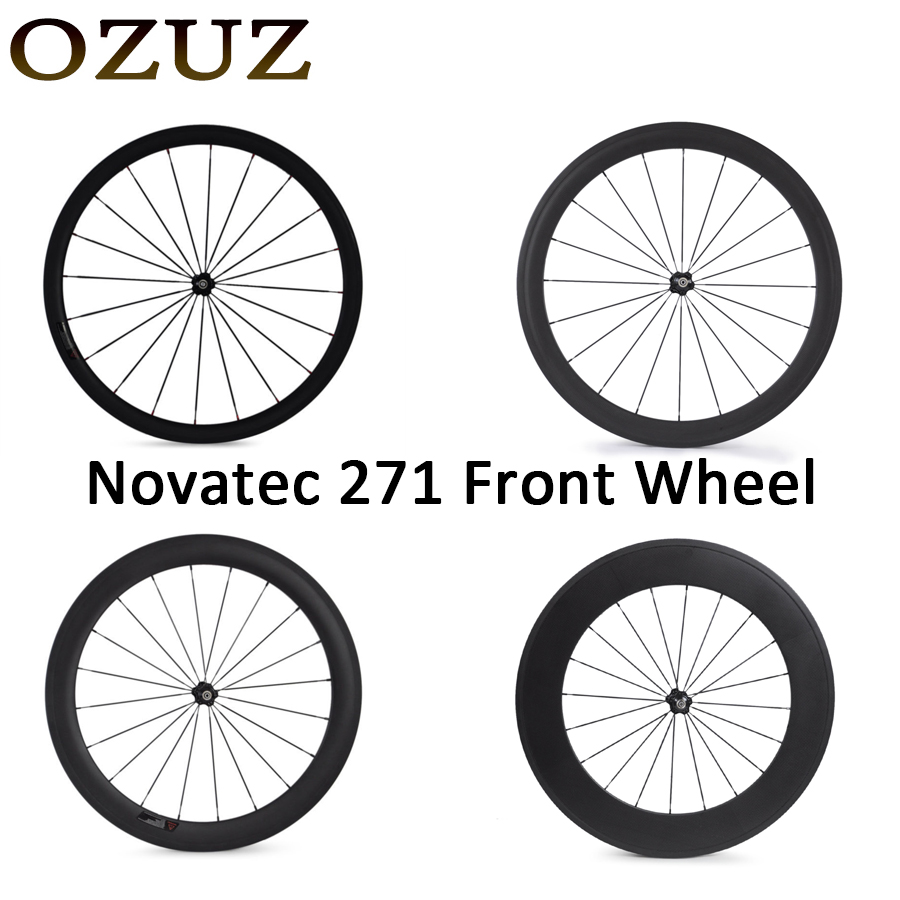 Novatec 271 OZUZ 700C 24mm 38mm 50mm 60mm 88mm Clincher Tubular Road Bike Bicycle Light Carbon Wheels Racing Only Front Wheel ozuz 700c novatec 291 482 38 50mm 50 60mm 50 88mm 60 88mm carbon tubular road bike bicycle wheels carbon wheels racing wheelset