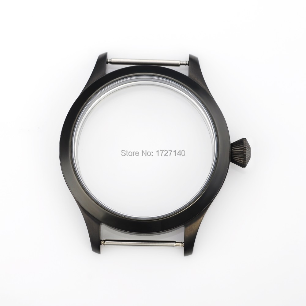 45mm Sapphire Crystal Black PVD Case Fit With Hand Winding 6497/6498 Movement 102503 цена