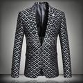 Плюс Размер Черный Красный Серый Печати Тонкий Пиджак Весна Осень Верхняя Одежда Певец Пиджаки Партия Одежда Верхняя Костюм Пиджак