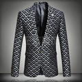 Plus Size Black Red Gray Print Slim Blazer Spring Autumn Outerwear Male Singer Blazers Party Clothing Top Costume Suit Jacket