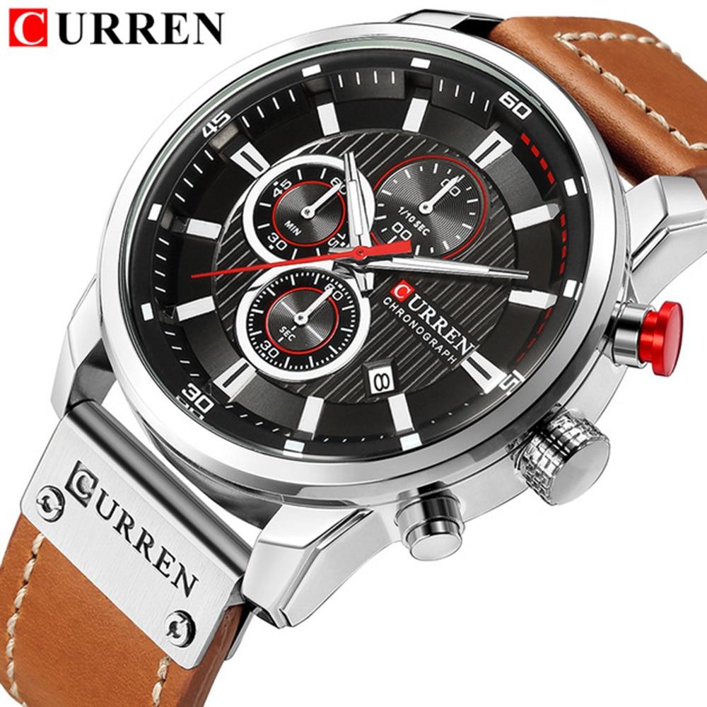Curren Man Watches Chronograph Analog-Quartz Sport Waterproof Top-Brand Luxury Men's