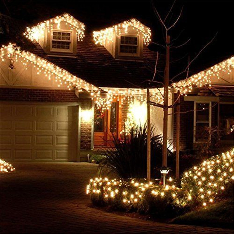 LED Curtain Icicle String Christmas Lights 5M Droop 0.4-0.8m 216LED For Outdoor Street Festoons Garland Wedding Party Decoration