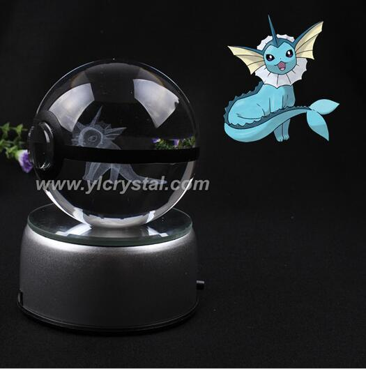 New Style Good Quality Vaporeon Pokemon Ball With Engraving Crystal Ball With Gift Box