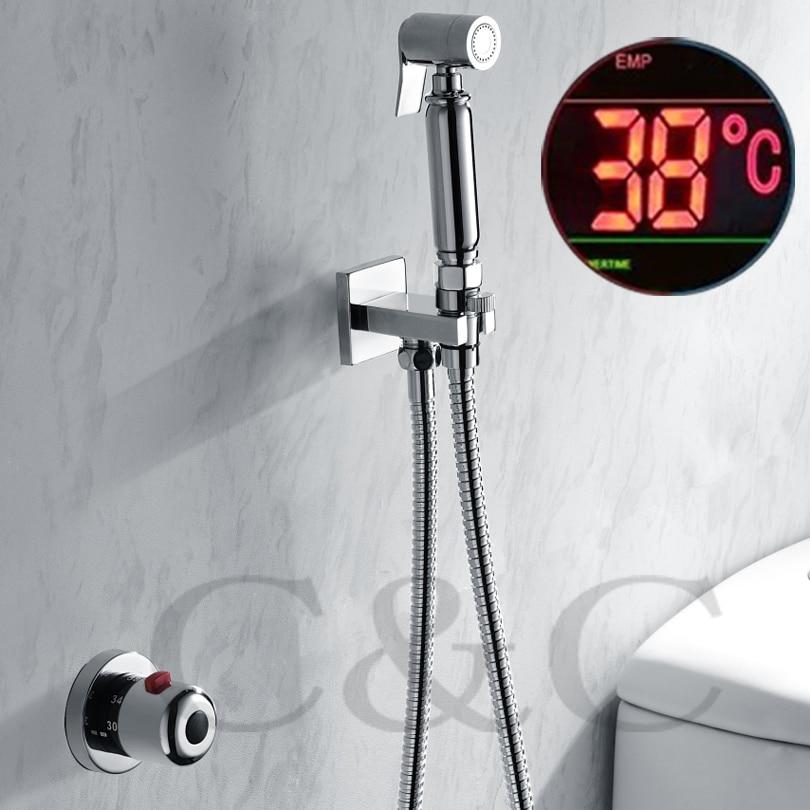 Thermostatic Handheld Toilet Bidet Faucet Hygiene Personal Cleaning Shattaf Sprayer Douche Kit Luxurious Bathroom Shower Head