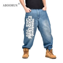 ABOORUN Più degli uomini di Formato Dei Jeans Larghi Hip Hop Lettera  Stampato Denim Dei Pantaloni 2d16f69b1f97