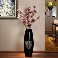 Европейский современный минималистский черный перо керамическая напольная ваза домашнего интерьера творческие украшения свадебный подар