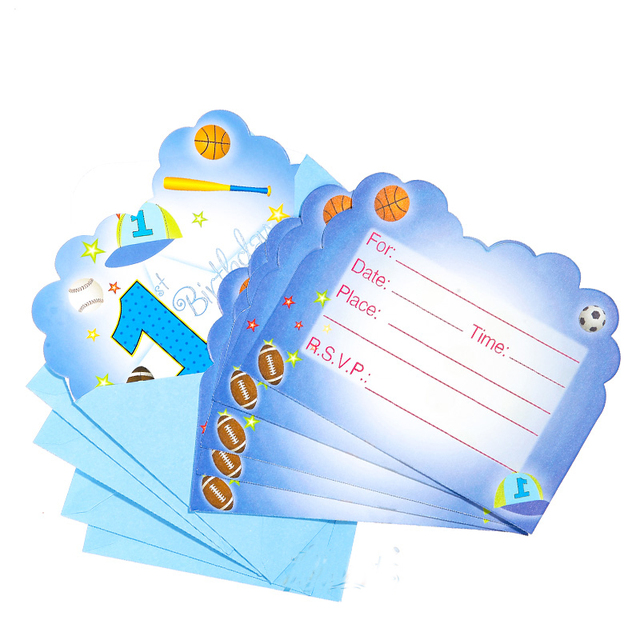 6pcs Pack 1st Bule Sports Boy Happy Birthday Party Decoration Kids Girl Event Supplies Favors Invitation Cards
