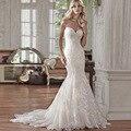 Custom Made Vestido de Noiva Vintage 2017 60 cm Da Cauda Vestidos de Noiva robe de mariage Querida Mangas Sereia Vestidos de Casamento