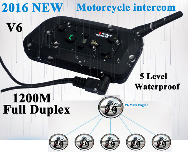 2PCS Hot  Moto Intercom V6 1200M Motorcycle Helmet intercom Headset 6 Rider Wireless BT Interphone Helmet Headphones Speakers FM