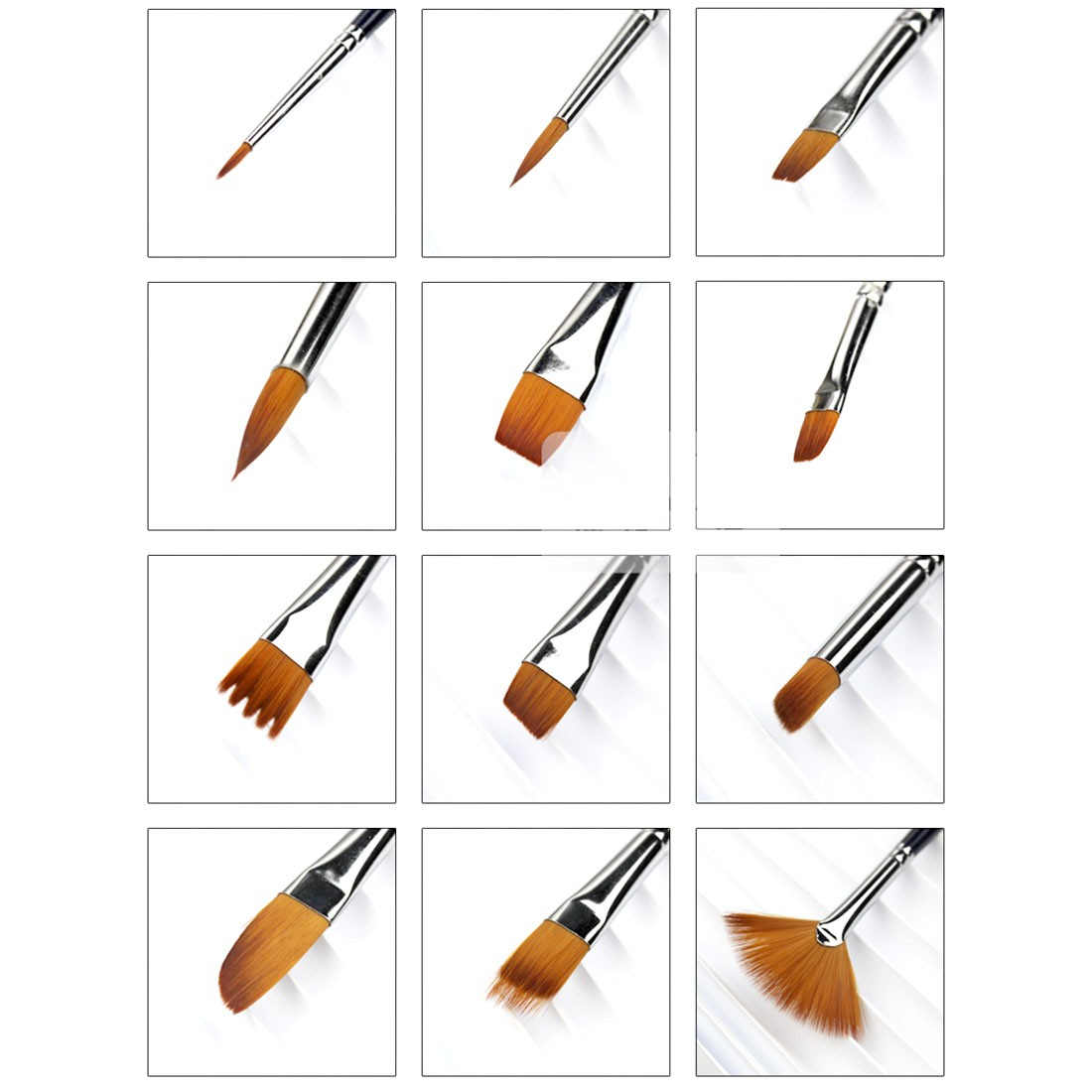 12 pcs Different Shape Nylon Hair Paint Brush Gouache Watercolor Brush Oil Painting Acrylics Brush Art Supplies