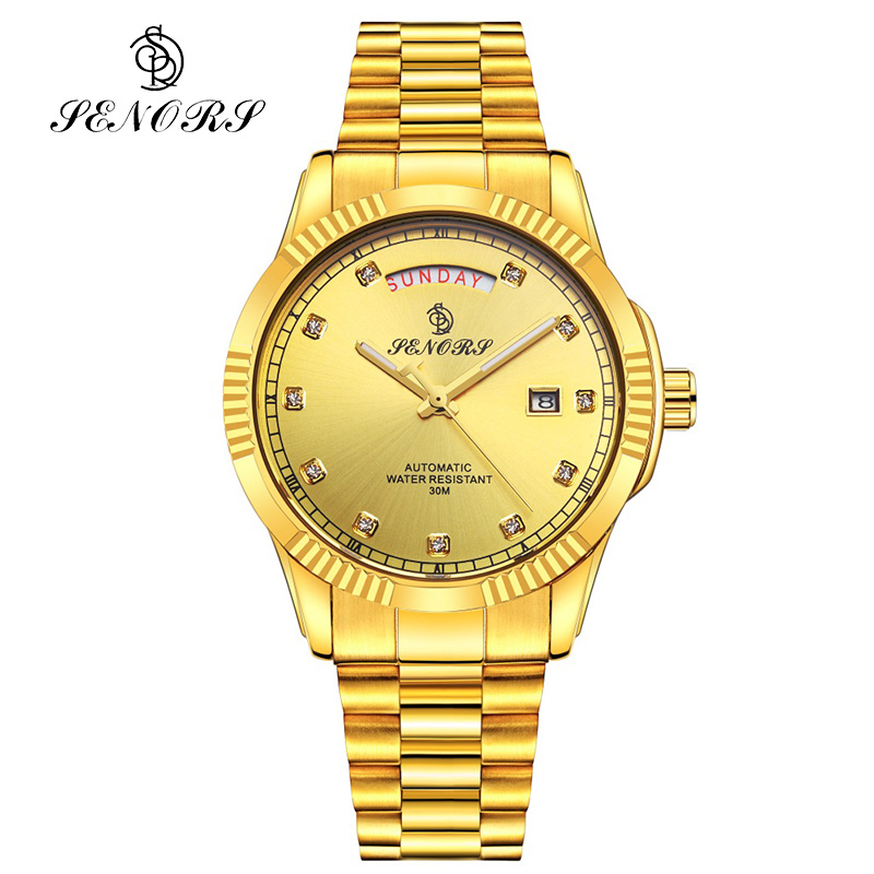 SENORS Men Watches Mechanical Automatic Top Brand Watch Luxury Rhinestones Business Wristwatch senors серебряный