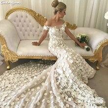 Vestido de novia con hombros descubiertos de sirena de lujo muy bonita Flor de marfil