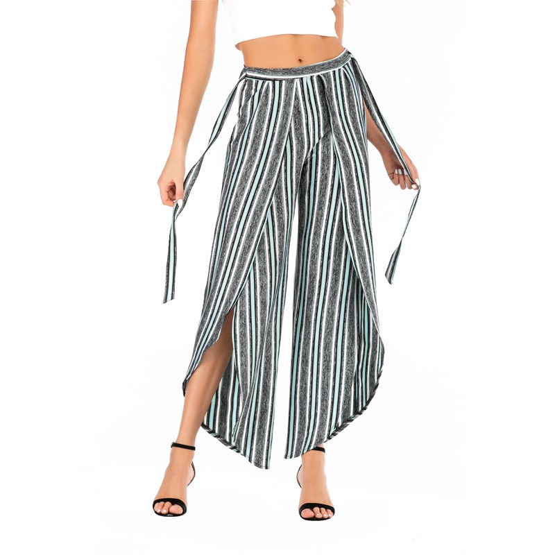 2019 Summer Casual Women Striped   Pants   Fashion Split Wide Leg   Pants   Loose High Waist Sashes Office Ladies Trousers