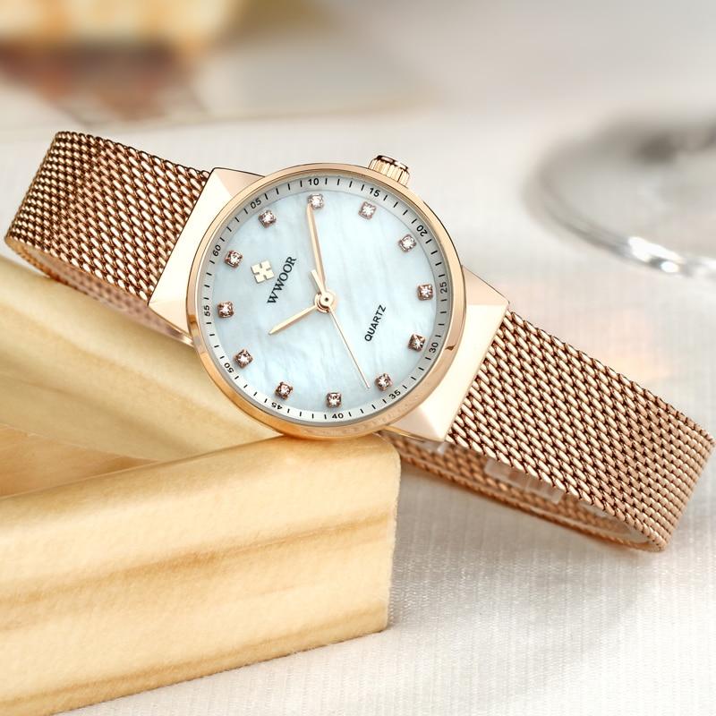 WWOOR Märke Luxury Women Vattentät Quartz Watch Ladies Rose Gold - Damklockor - Foto 4