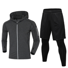 2018 YD New Warm With Velvet Running Set Men Jacket+Fake Two Pieces Sport Suit Gym Clothing Outdoor Training Sportswear