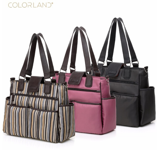 COLORLAND Diaper bags Nylon Large Capacity Shoulder waterproof Elegant Nappy changing bag Baby stroller Bags for Maternity mom 2014 sale colorland baby diaper bags set multifunctional fashion nappy bag large capacity double shoulder maternity cross body