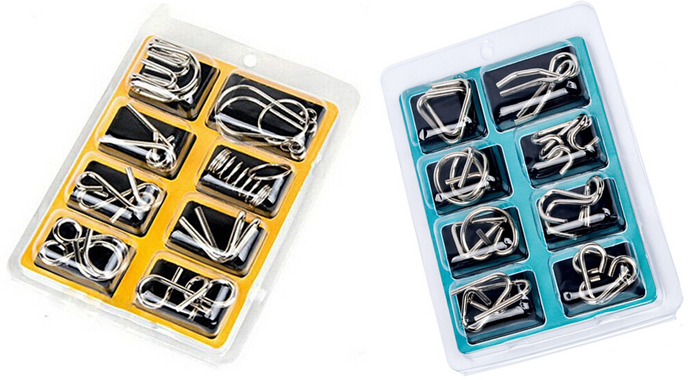 8PCS/Set Metal Puzzle IQ Wire Brain Teaser Game for Children Adults
