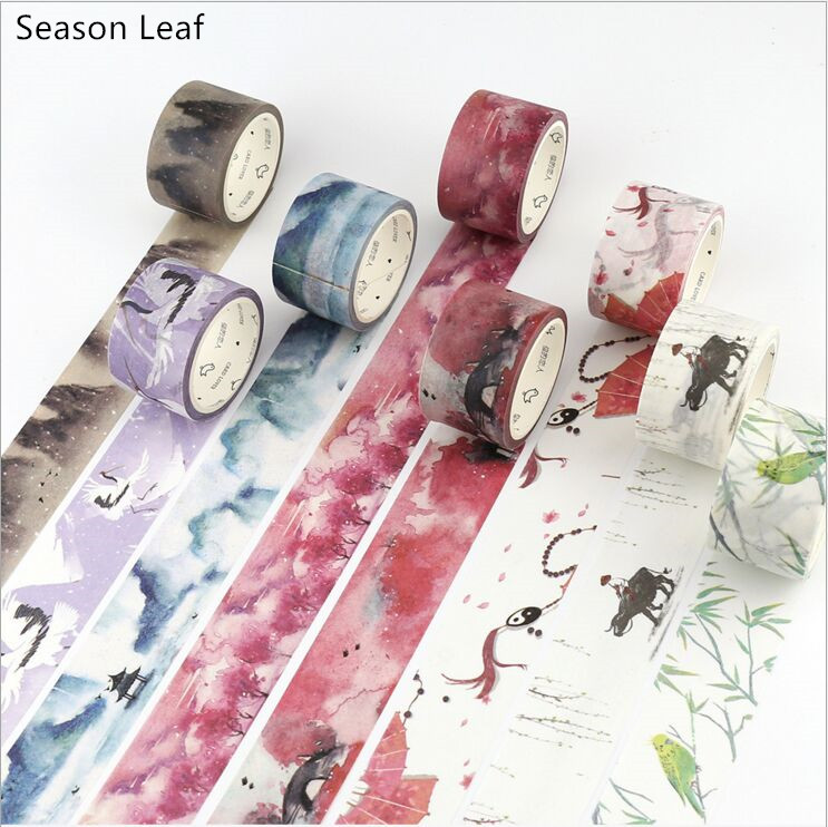 Vintage Classic Poetry Illustrations Scenery Painting Decorate Washi Tape DIY Diary Planner Scrapbook StickerLabel Masking Tape