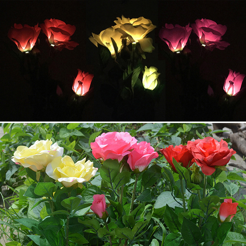 Solar Powered 3 LED Rose Flower Garden Night Light Lamp Outdoor Party Decor