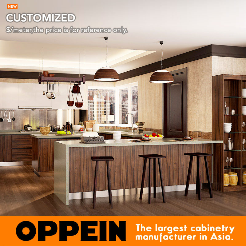 oppein moderno oscuro grano de madera mdf gabinetes de la cocina del pvc en forma de