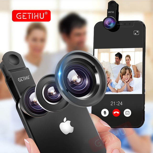 GETIHU Universal 3 in1 Wide Angle Macro Fisheye Lens Camera Mobile Phone Lenses Fish Eye Lentes For iPhone Smartphone Microscope