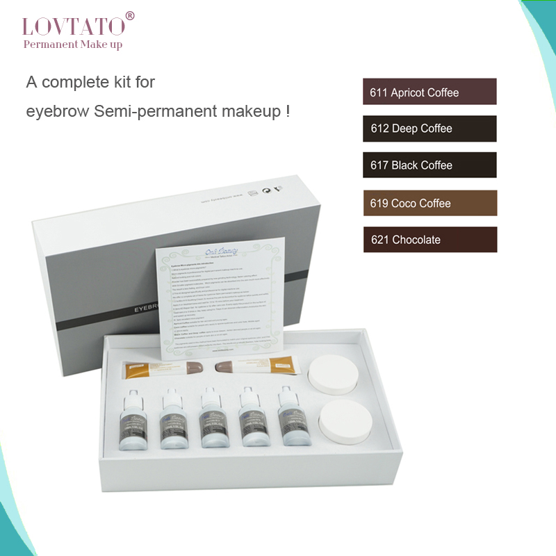 Safe Eyebrow Micro Pigmentation Ink Kits Eyebrow Micro-pigments kits Premium Eyebrow Micropigmentation Kits for Permanent Makeup 35000r import permanent makeup machine best tattoo makeup eyebrow lips machine pen