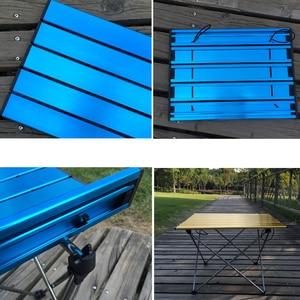 Image 5 - Mesa plegable portátil, plegable, para Camping, barbacoa, senderismo, azul, Mini para mochila, escritorio, viaje, pícnic al aire libre, aleación de aluminio, ultraligero