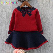 Здесь можно купить   2Piece/2-6Years/Spring Autumn Baby Girls Suits Clothes Set Cute Bow Knitted Sweater+Skirt Children Clothing Kids Costume BC1326 Children