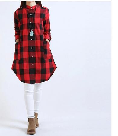 30pcs/lot fedex fast free shipping european style lady plaid long blouse cotton linen full plaid stand shirt plus size