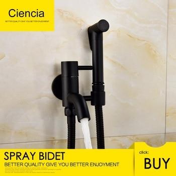 Free Shipping Brass Black Bidets Faucet Toilet Cleaner Shower Spray Bidet Sprayer Toilet Faucets Shower Bidet Handheld Bidet