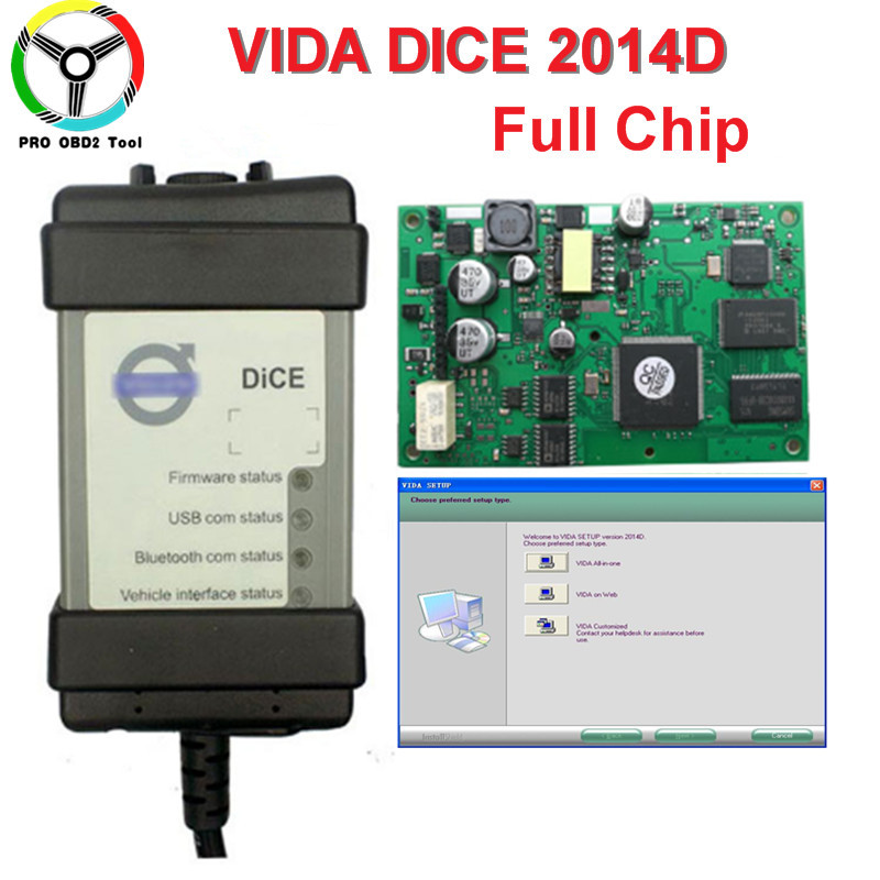 2018 Newest Version Vida Dice 2014D Professional Car Diagnostic Tool Dice Pro Full Chip Green Board Free Shipping цена