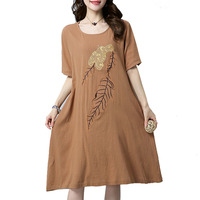 N XINZHE Embroidery Loose Dress Cotton Linen Summer Dress 2018 Women Pockets Casual Vintage Dresses Vestidos