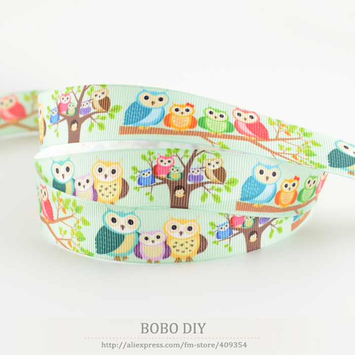 Cute owl designs accessories min order is 5$ (mixed order)7/8 22mm grosgrain ribbons pol ...