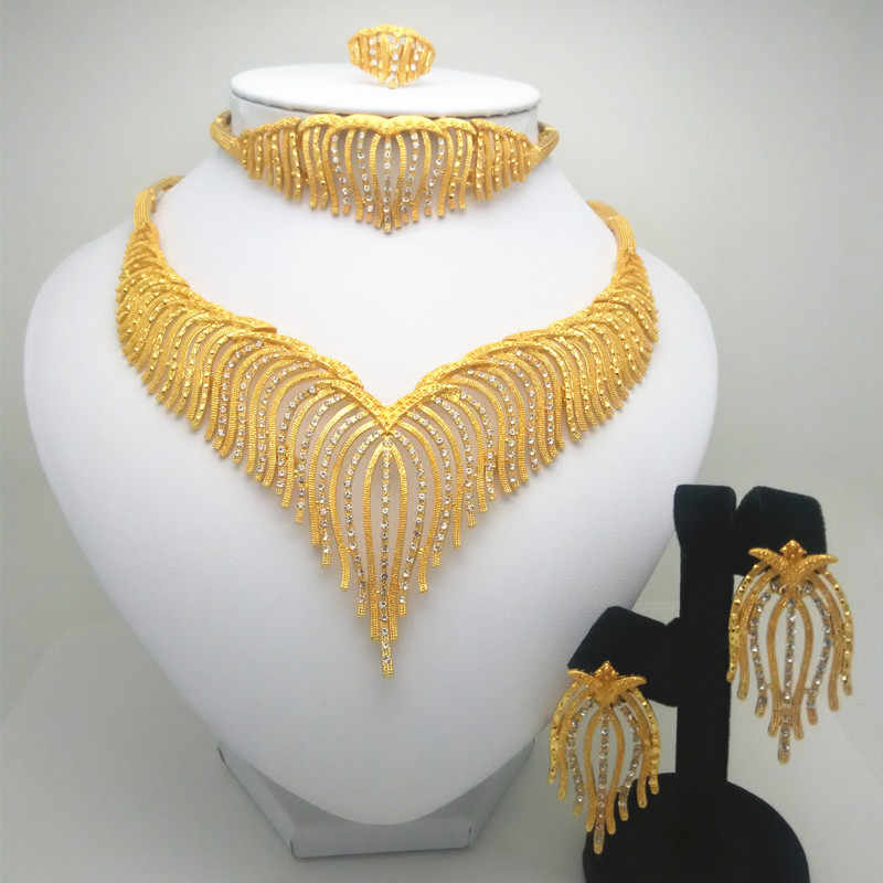 Fashion Kingdom Ma jewelry set Nigeria Dubai gold-color African bead jewelry wedding jewelry set African Bridal Wedding Gifts