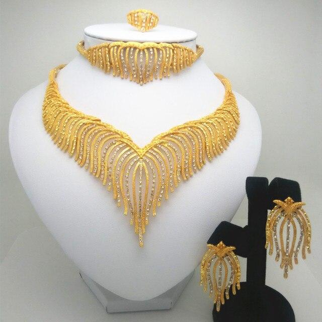 תכשיטים סט ניגריה דובאי זהב-צבע אפריקאי חרוז תכשיטי חתונה אפריקאית תכשיטים כלה חתונה מתנות