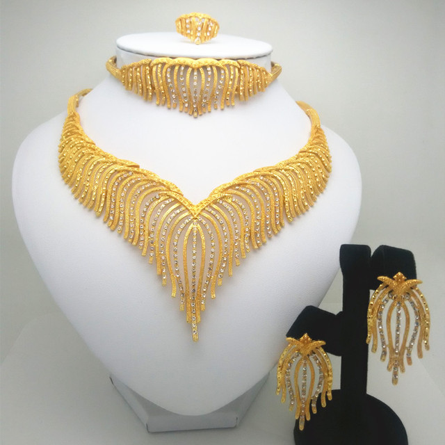 Thời trang Vương Quốc Mã Bộ trang sức Nigeria Dubai vàng-Màu sắc Châu Phi Hạt trang sức cưới Bộ trang sức Châu Phi Cưới cô dâu Quà Tặng