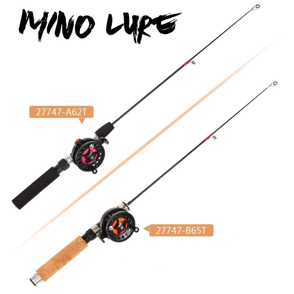 Caña de pescar de hielo de bolsillo portátil con carrete de pesca Super corto cañas telescópicas ABS FRP EVA imitación de madera de pesca de hielo trajes