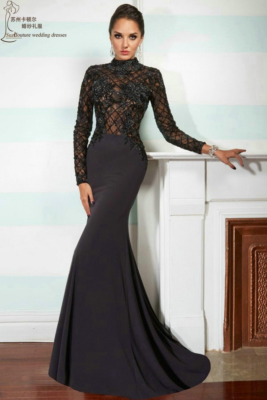 Long Sleeve Prom Dress 2015 Mp1003 Elegant Black