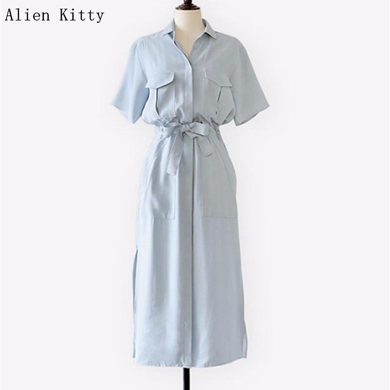 Ingyenes házhozszállítás 2018 forró európai stílus új tavaszi és nyári rövid ujjú ing ruha rés ruha női ruha női Vestidos