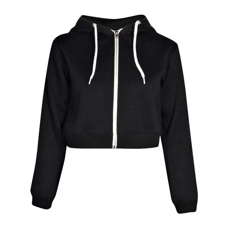 40ba08349 Women Girls Fashion Autumn Spring Tops Drawstring Hooded Long Sleeve Zip Up  Crop Hoodie Sweatshirts