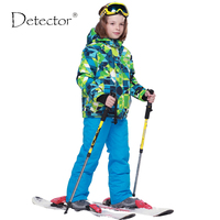 2016 Winter Boys Ski Sets Letters Windproof Hooded Jacket Pants 2 Pieces Tracksuits For Children Warm