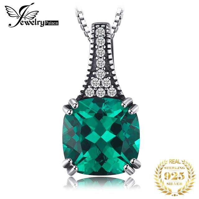 JewelryPalace Classic 2.1 ct Cushion Created Emerald Pendant Necklaces For Women 925 Sterling Silver Brand Jewelry Without Chain