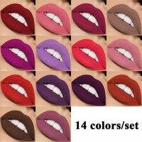 FOONBE 14 Adet/takım Dudaklar Makyaj Mat Dudak Parlatıcısı Kiti Kadın makyaj Mat Ruj Sıvı Maquiagem Güzellik Kozmetik Lipgloss Seti