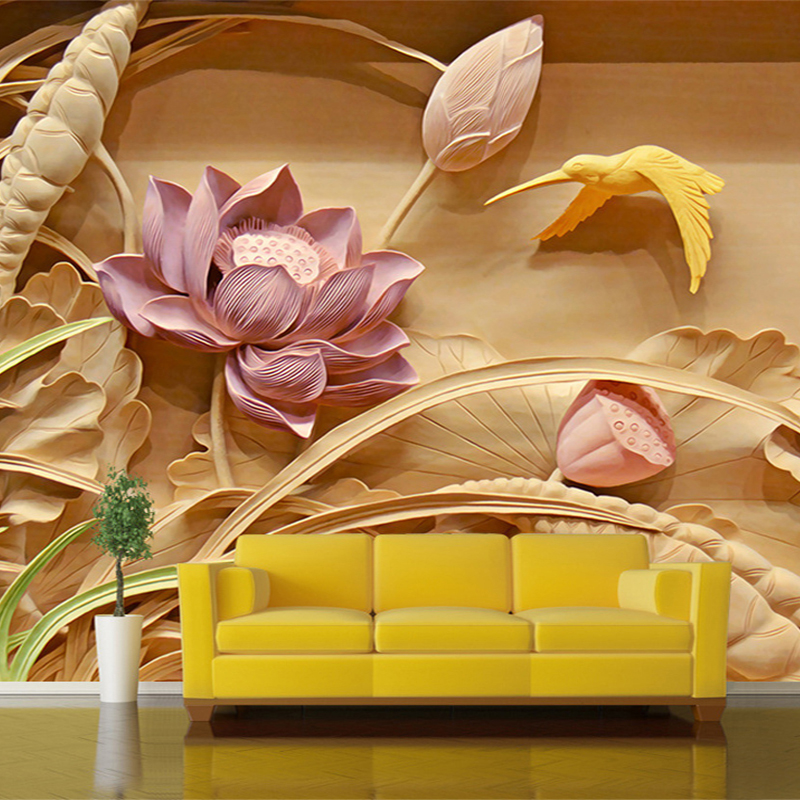 Custom 3D Stereo Deep Texture Wood Carvings TV Background Wall Fresco 3D Mural Wallpaper For Living Room Wall Paper Home Decor