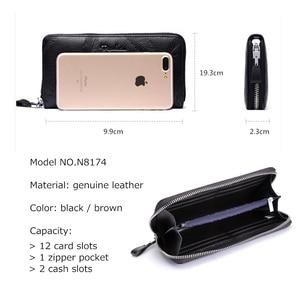 Image 5 - BISON DENIM Men Purse Genuine Leather Large Capacity Card Holder Cowskin Money Purse For Men Quality Zipper Coin Purse N8226