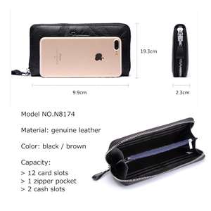 Image 5 - BISON DENIM erkek çanta hakiki deri büyük kapasiteli kart tutucu inek derisi para çanta erkekler için kaliteli fermuarlı bozuk para cüzdanı N8226